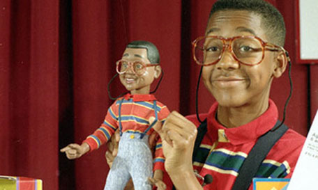 Urkel with the Urkel doll
