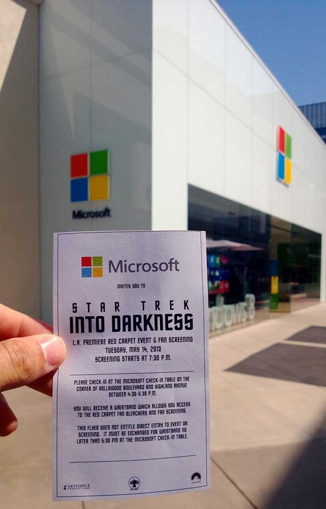 Star Trek Into Darkness Microsoft Store Ticket